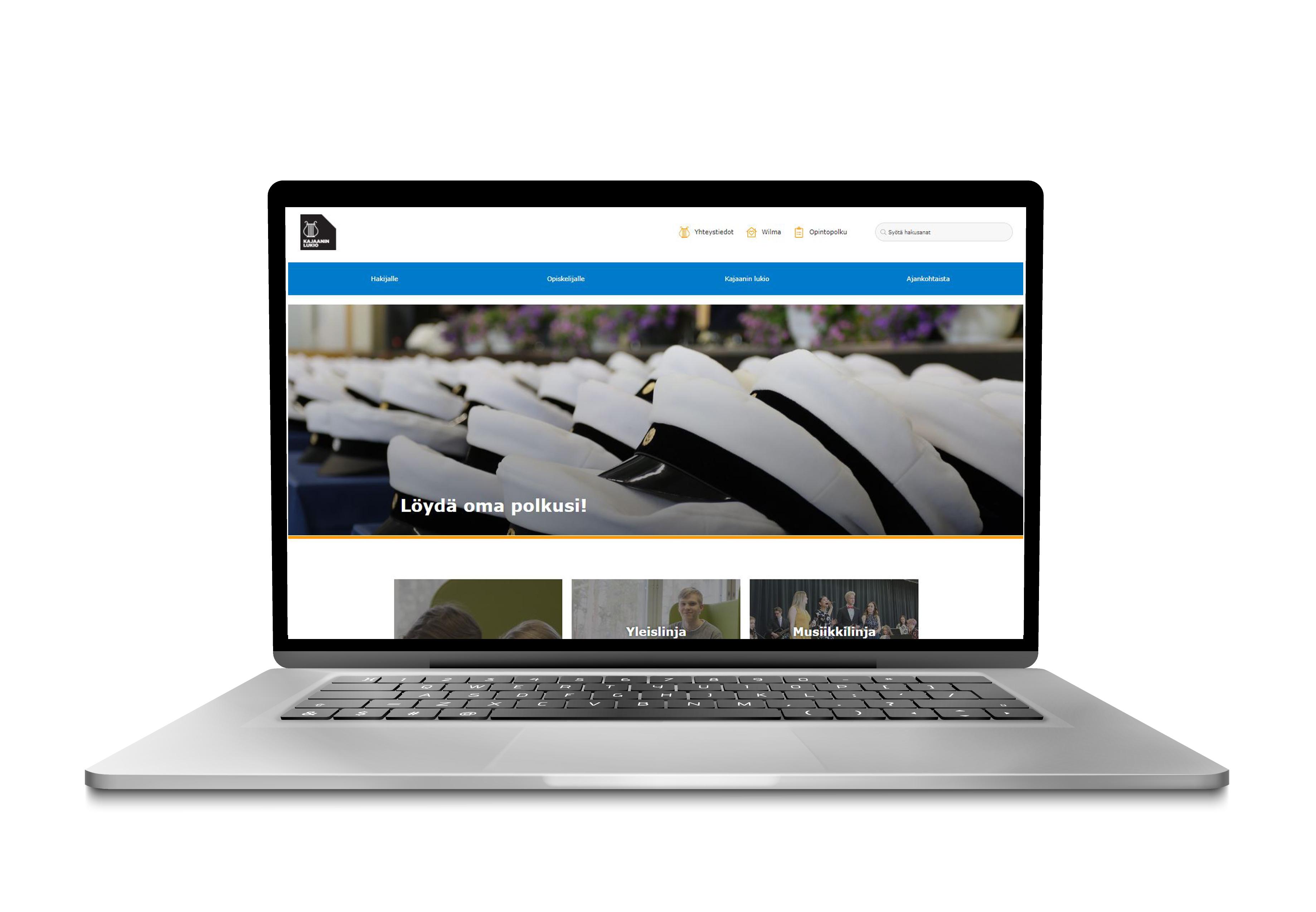 Kajaanin lukion uudet verkkosivut auki kannettavan tietokoneen näytöllä, kuva